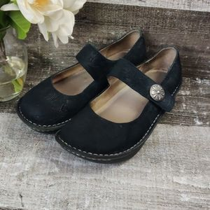 ALEGRIA  Black embossed suede Mary Jane shoes